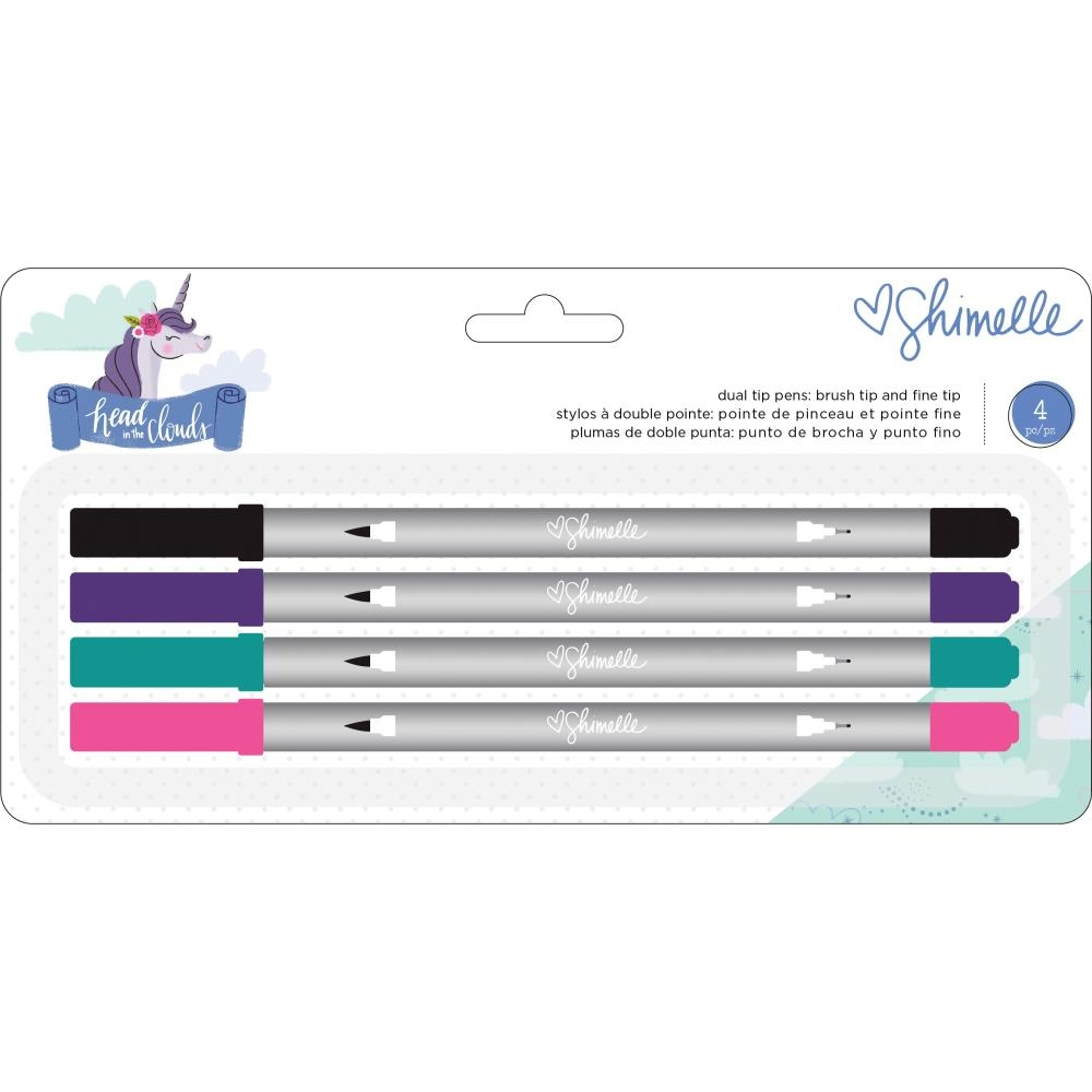American Crafts Shimelle BRUSH AND FINE TIP DUAL-TIP Pen Set Head in the Clouds 349474 zoom image
