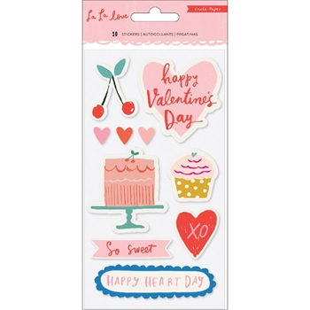 Crate Paper LA LA LOVE Puffy Stickers 344559