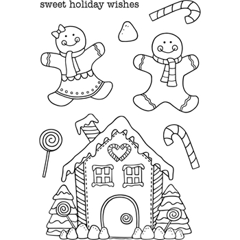 Jane's Doodles GINGERBREAD Clear Stamp Set 743474