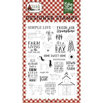 Echo Park DOWN ON THE FARM Clear Stamps do182040