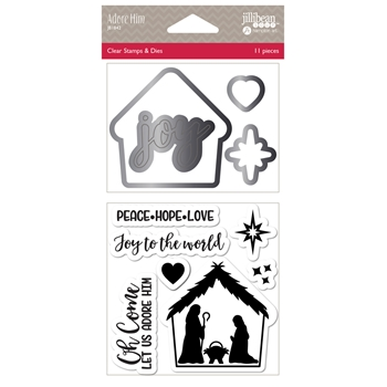 Jillibean Soup ADORE HIM Clear Stamp and Die Set jb1842