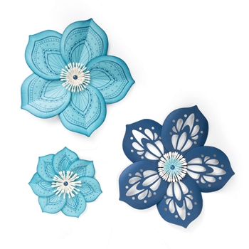 Sizzix Framelits ROSETTE FLOWER Combo Die and Stamp Set 663133