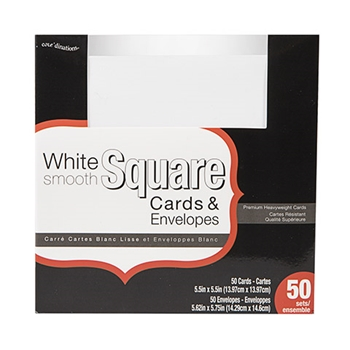 Darice WHITE CARDS AND ENVELOPES 50 Square Set Core'dinations gx-8000-89