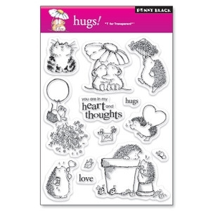 Penny Black Clear Stamps HUGS Valentine Hedgy 30-020