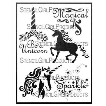 StencilGirl UNICORN MAGIC 9x12 Stencil l693