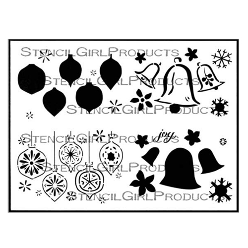 StencilGirl BELLS AND ORNAMENTS GREETING CARD SET 9x12 Stencil l689 Preview Image