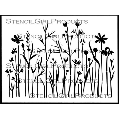 StencilGirl WILDFLOWERS AND GRASSES Stencil l690 Preview Image