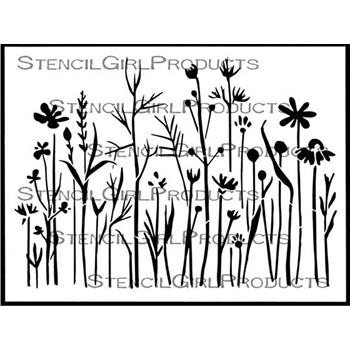 StencilGirl WILDFLOWERS AND GRASSES 9x12 Stencil l690