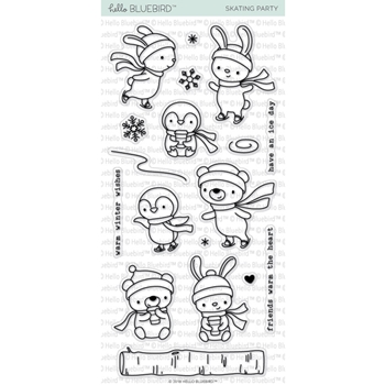 Hello Bluebird SKATING PARTY Stamp Clear Stamps hb2153