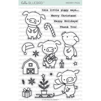 Hello Bluebird MERRY PIGS Clear Stamps hb2145