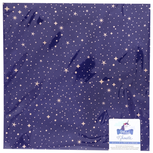 American Crafts Shimelle FLOCKED WITH ROSE GOLD FOIL Starry Night 12x12 Inch Cardstock Head in the Clouds 349472 Preview Image