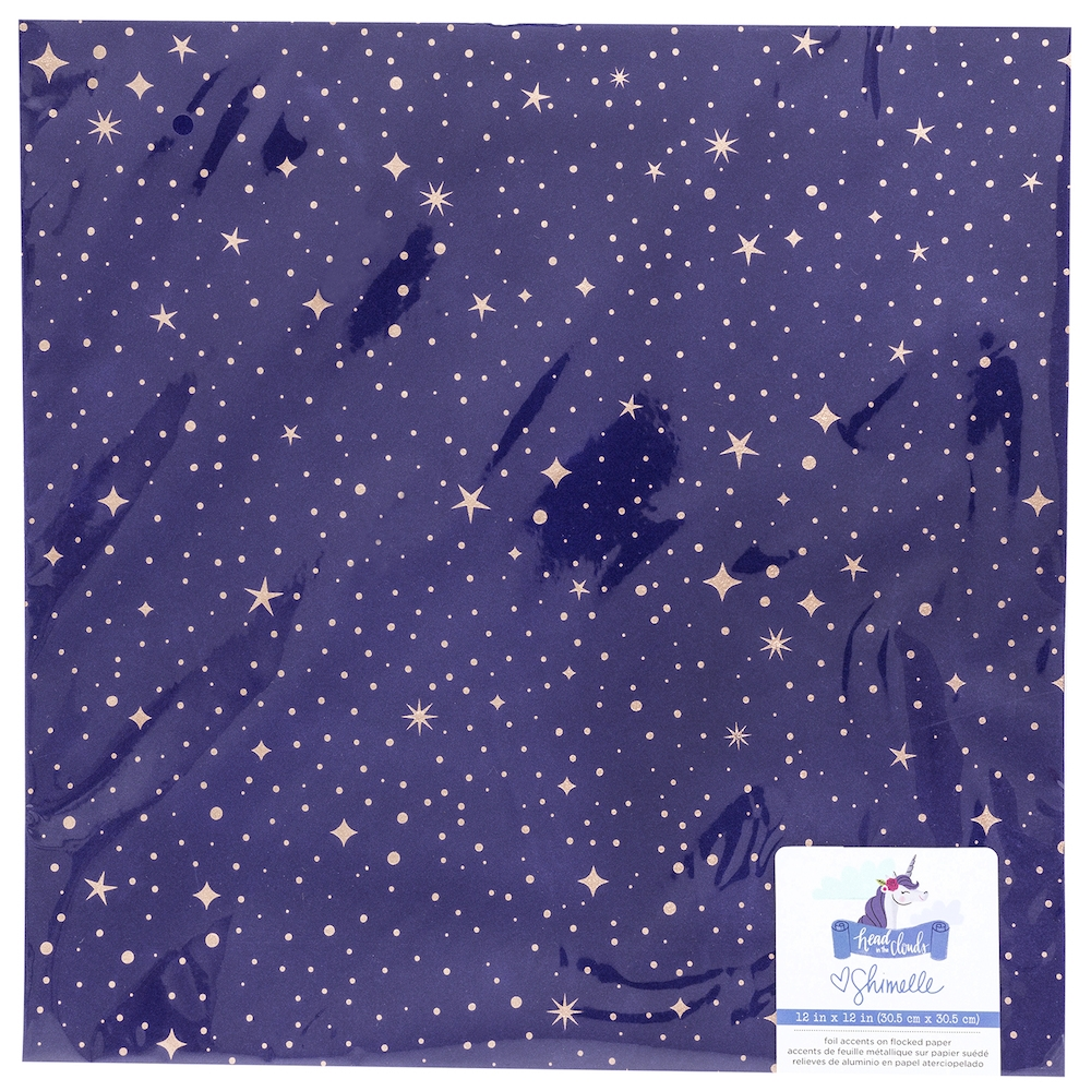 American Crafts Shimelle FLOCKED WITH ROSE GOLD FOIL Starry Night 12x12 Inch Cardstock Head in the Clouds 349472 zoom image