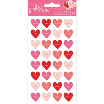 Pebbles Inc. CONVERSATION HEARTS Loves Me Puffy Stickers 733951