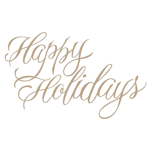 GLP-068 Spellbinders FAUX HAPPY HOLIDAYS Glimmer Hot Foil Plate by Paul Antonio Preview Image