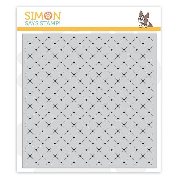 Simon Says Cling Rubber Stamp QUILTED HEARTS BACKGROUND sss101947 You Are Loved zoom image