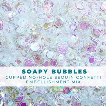 Trinity Stamps SOAPY BUBBLES CLEAR IRIDESCENT SEQUIN LIKE CONFETTI Embellishment Bag 1543205722