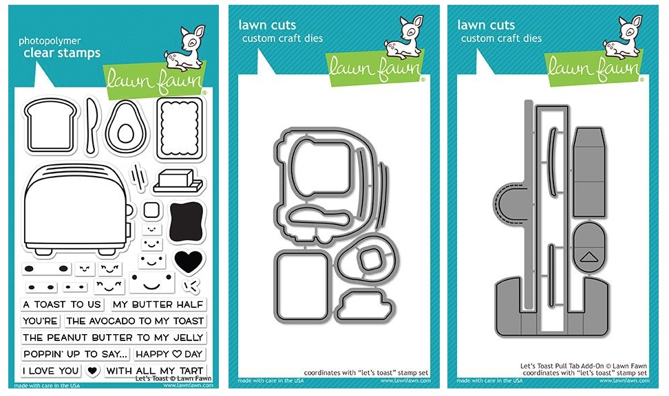 Lawn Fawn SET LET'S TOAST Clear Stamps and Dies LF18LT zoom image