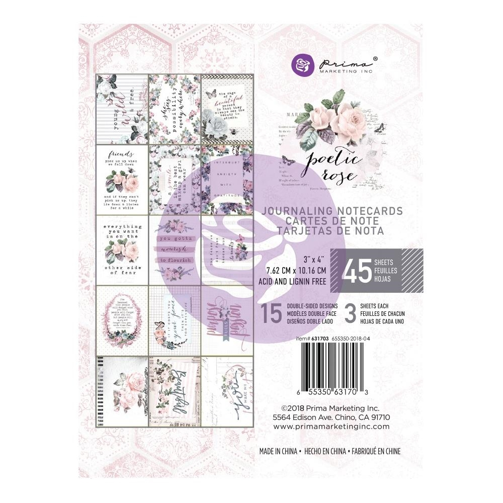 Prima Marketing POETIC ROSE 3 X 4 Journaling Cards Pad 631703 zoom image