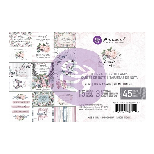 Prima Marketing POETIC ROSE 4 X 6 Journaling Cards Pad 631710 Preview Image