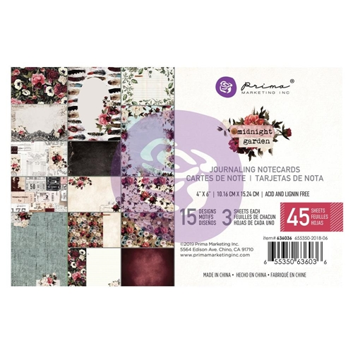 Prima Marketing MIDNIGHT GARDEN 4 X 6 Journaling Cards Pad 636036 Preview Image