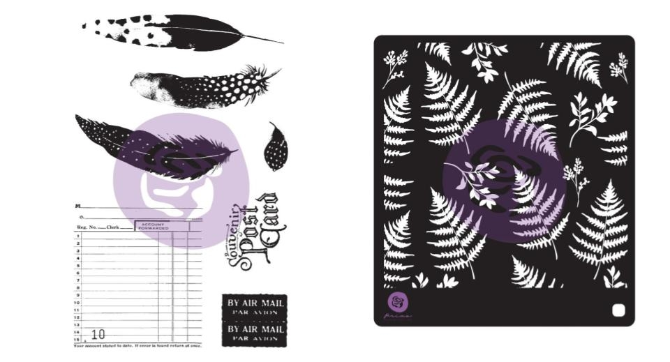 Prima Marketing MIDNIGHT GARDEN Cling Stamps & Stencil 636074 zoom image