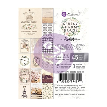 Prima Marketing SPRING FARMHOUSE 3 X 4 Journaling Cards Pad 994891