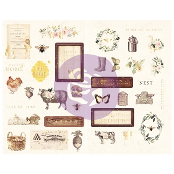 Prima Marketing SPRING FARMHOUSE Chipboard Stickers 994914