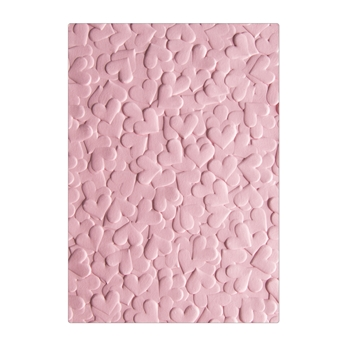 Sizzix Textured Impressions CONFETTI HEARTS 3D Embossing Folders 663201