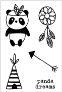 Flora and Fauna MINI TRIBE PANDA Clear Stamps 20220