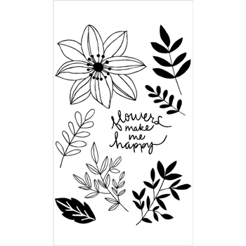 Flora and Fauna HAPPY FLOWERS Clear Stamps 20218