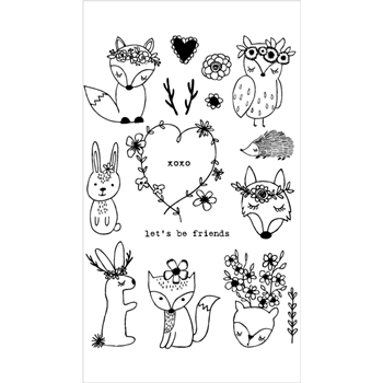 Flora and Fauna BOHEMIAN WOODLAND ANIMALS Clear Stamps 20214