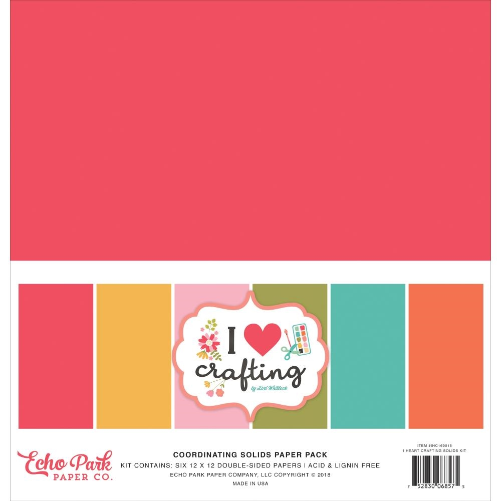 Echo Park I HEART CRAFTING 12 x 12 Double Sided Solids Paper Pack ihc169015 zoom image