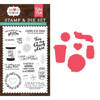 Echo Park JUST ADD GLITTER Die & Stamp Set ihc169043