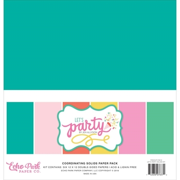 Echo Park LET'S PARTY 12 x 12 Double Sided Solids Paper Pack lp170015