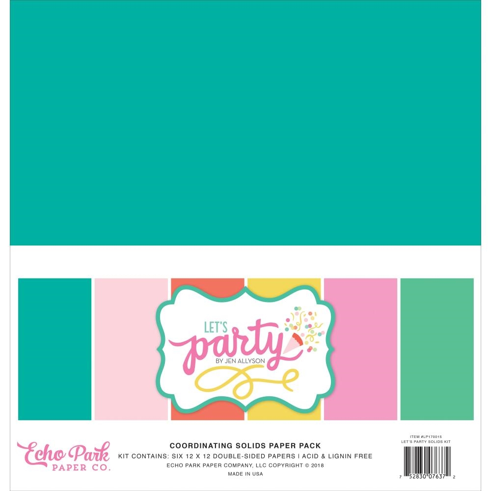 Echo Park LET'S PARTY 12 x 12 Double Sided Solids Paper Pack lp170015 zoom image