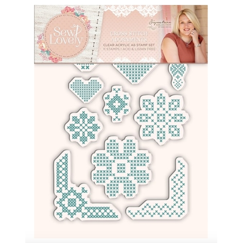 Crafter's Companion CROSS STITCH ADORNMENTS Sew Lovely Clear Stamp Set s-sl-st-csa Preview Image