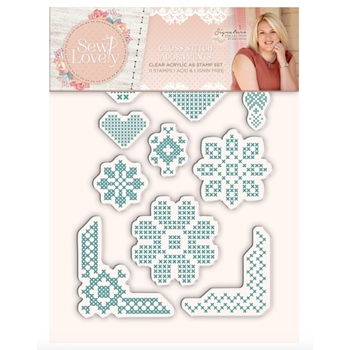 Crafter's Companion CROSS STITCH ADORNMENTS Sew Lovely Clear Stamp Set s-sl-st-csa