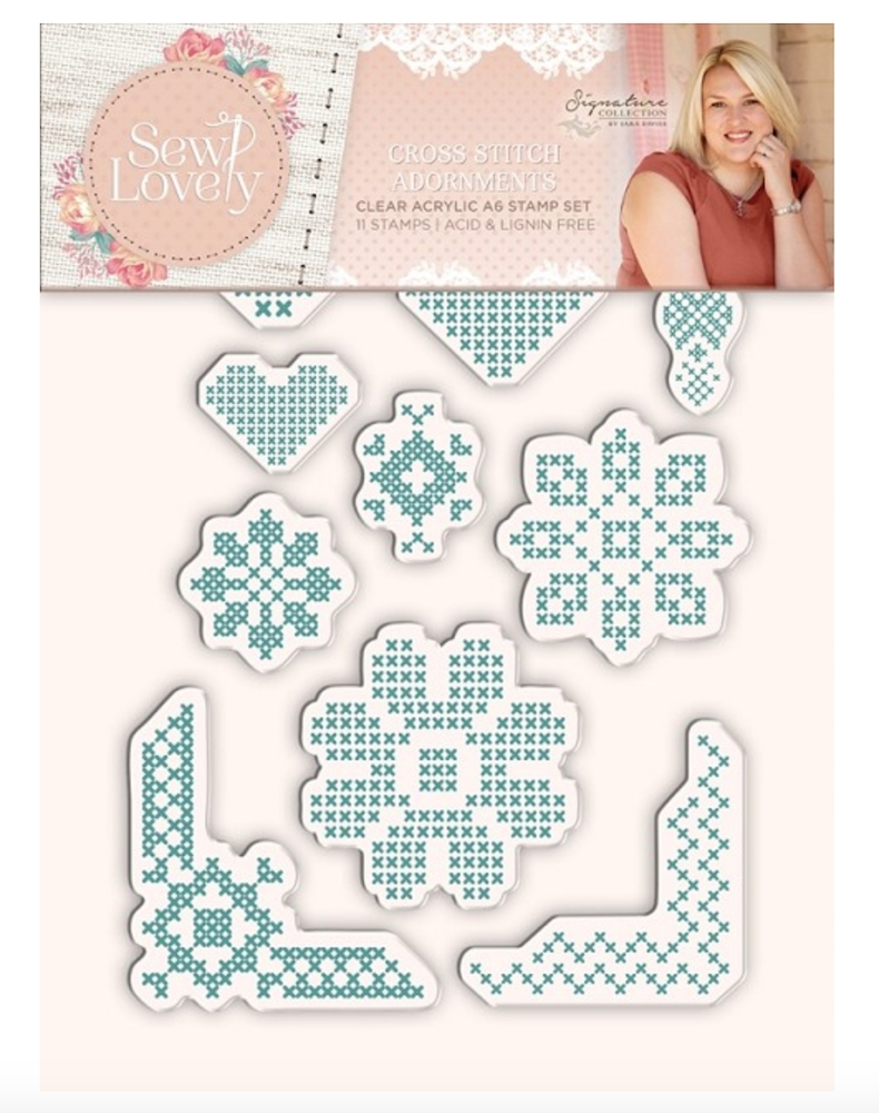 Crafter's Companion CROSS STITCH ADORNMENTS Sew Lovely Clear Stamp Set s-sl-st-csa zoom image