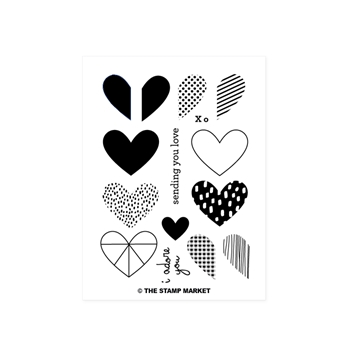 The Stamp Market HEAPS OF HEARTS Clear Stamp Set tsm030
