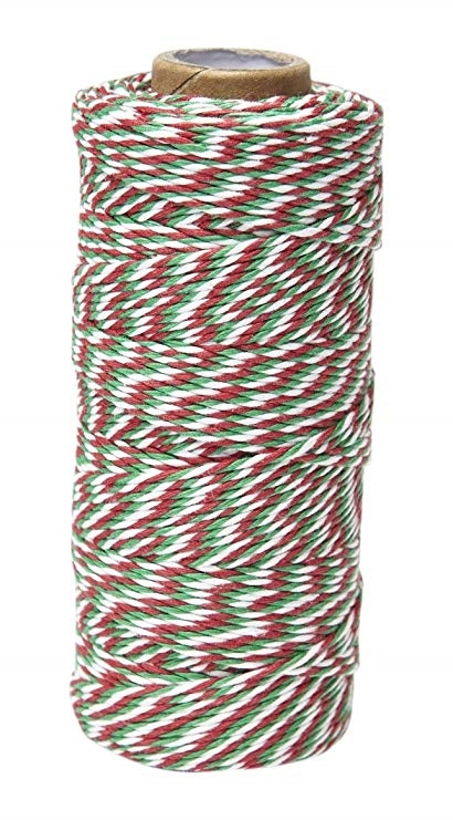May Arts WHITE GREEN RED Baker's Twine Twisted Ribbon 4120245 zoom image