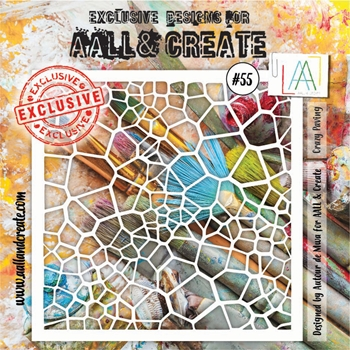 AALL & Create CRAZY PAVING Stencil aal10055
