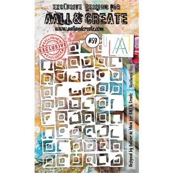 AALL & Create WEATHERED TILES Stencil aal10059