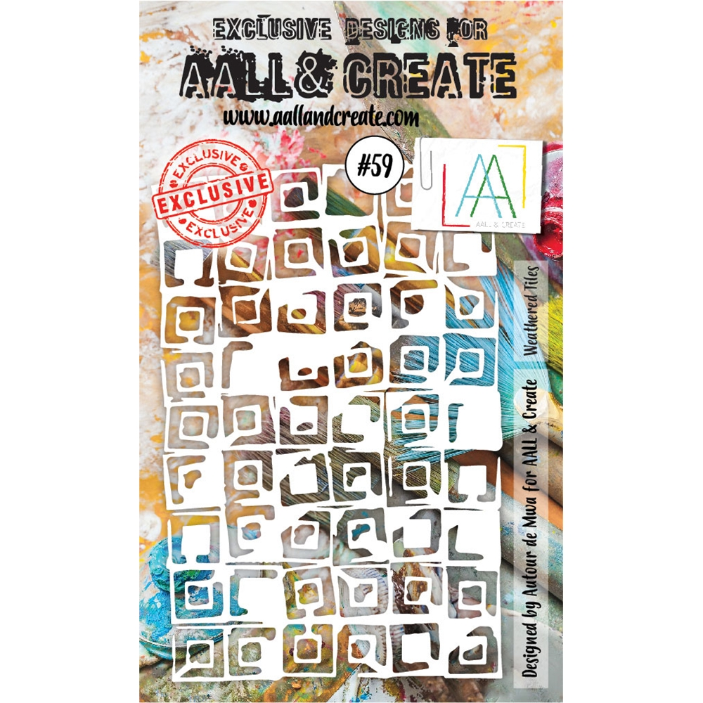 AALL & Create WEATHERED TILES Stencil aal10059 zoom image