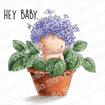 Stamping Bella Cling Stamp HYDRANGEA BABY IN A POT eb771