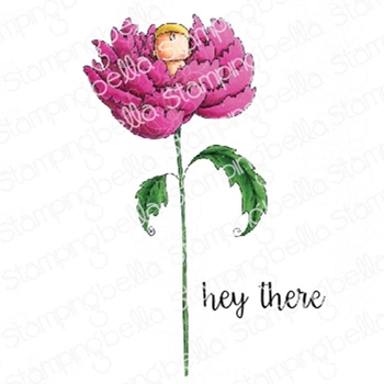 Stamping Bella Cling Stamp LONG STEMMED BABY PEONY eb772