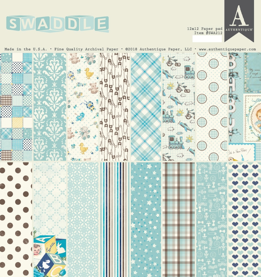 Authentique SWADDLE BOY 12 x 12 Paper Pad swa212 zoom image