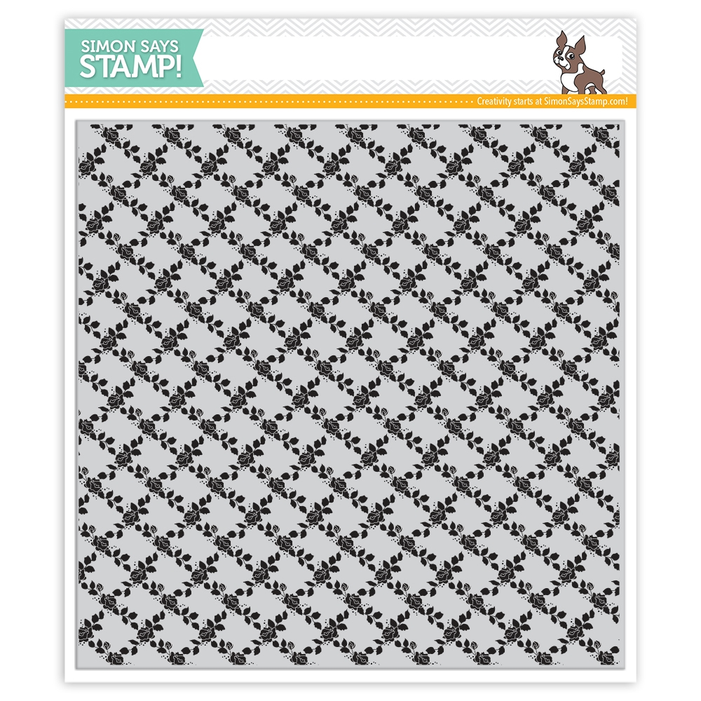 Simon Says Cling Rubber Stamp ROSE LATTICE BACKGROUND sss101969 zoom image