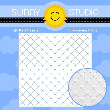 Sunny Studio QUILTED HEARTS Embossing Folder SSMB-103