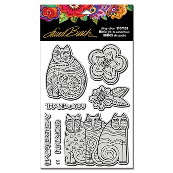 Stampendous Cling Stamps FELINE BLOOMS With Stencil Laurel Burch lbcrs09
