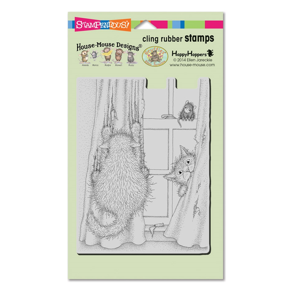 Stampendous Cling Stamp CURTAIN CATS hmcr127 House Mouse zoom image